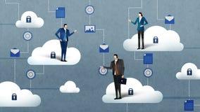 有通入云彩计算的服务的商人女实业家 挥动白色的蓝色业务设计例证插入行动空间文本