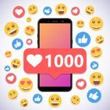 有通知1000喜欢和微笑的智能手机社会媒介的 图库摄影