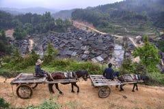 有通过沿山路, spr的中国农民的两个推车 免版税库存图片