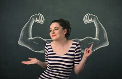 有速写的强和肌肉的胳膊的妇女 库存照片
