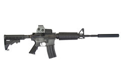 有遏声器的马枪M4 免版税图库摄影