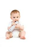有遥控的婴孩 免版税库存照片