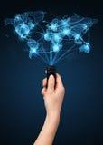 有遥控,社会媒介概念的手 免版税库存图片