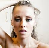 有部族构成的俏丽的女孩 图库摄影