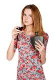 有酒精饮料的美丽的少妇 免版税图库摄影