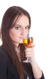 有酒glas的女孩 库存图片