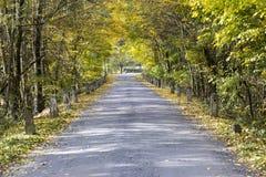 有里程碑的老路在秋天 库存图片