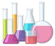 有里面化学制品的烧杯 向量例证