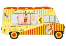 有里面女孩的冰淇凌搬运车 皇族释放例证