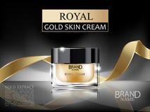 有里面皇家金的面霜的优质3d化妆玻璃奶油色瓶和在黑暗的抽象背景的金丝带 免版税库存照片