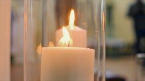 有里面蜡烛的玻璃瓶子 影视素材