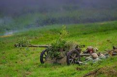 有重型武器火的战士 库存图片