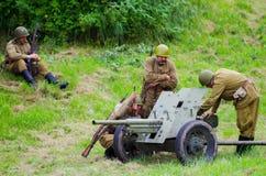 有重型武器的战士 免版税图库摄影