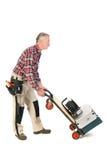 有重的工具箱的体力工人 免版税库存照片