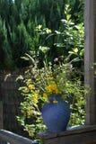 有野花的蓝色花瓶在庭院里 库存照片