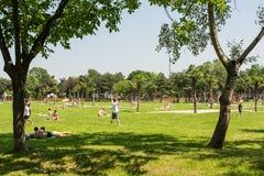 有野餐和打比赛的人们 免版税库存图片