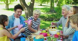 有野餐和拿着美国国旗的家庭 股票录像
