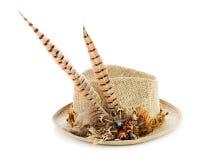 有野鸡羽毛的狩猎帽子在白色。 免版税库存照片