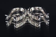 有金刚石的耳环 库存照片