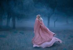 有金发奔跑的华美的年轻女王/王后在充分一个黑暗和密集的可怕森林里白色薄雾,穿戴在长,飞行 免版税图库摄影
