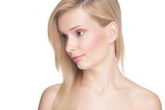 有金发的俏丽的女孩 免版税图库摄影