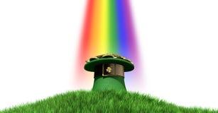 有金子的妖精帽子在草山 免版税图库摄影