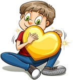 有金子般的心的一个男孩 库存图片