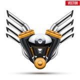 有金属翼的摩托车引擎 向量 免版税图库摄影