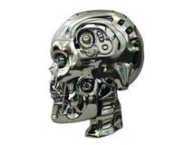 有金属表面和蓝色发光的机器人头骨在侧视图注视 库存照片