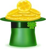 有金币的帽子,一个象为圣帕特里克的天, 免版税库存照片