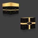 有金盒盖和葡萄酒背景的VIP箱子,两个大箱子和平的正方形 在一个灰色背景 免版税库存图片