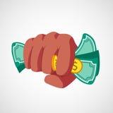 有金钱传染媒介的拳打拳头 免版税图库摄影