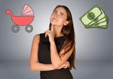 有金钱和儿童车的女商人 库存图片