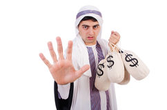 有金钱大袋的阿拉伯人 图库摄影