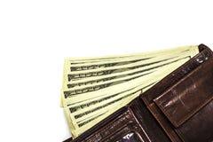有金钱的皮革钱包在白色背景 免版税库存照片
