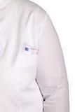 有金钱的医生的口袋在白色背景 免版税库存图片