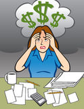 有金钱问题的妇女 免版税库存照片