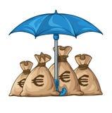 有金钱货币美元的伞保护的大袋 免版税库存图片