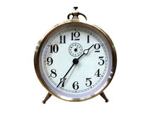 有金黄框架的一个圈子时钟 库存图片