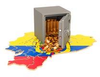 有金黄硬币的保管箱在厄瓜多尔的地图,3D翻译 库存例证
