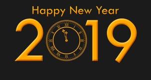 有金黄色的文本和时钟触击的新年快乐2019年 免版税库存图片