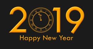 有金黄色的文本和时钟触击的新年快乐2019年 图库摄影