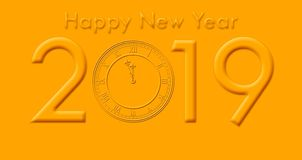 有金黄色的文本和时钟触击的新年快乐2019年 库存照片
