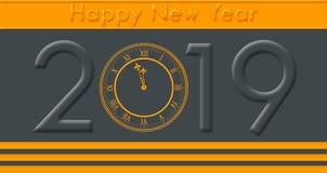 有金黄色的文本和时钟触击的新年快乐2019年 免版税库存照片