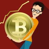 有金黄bitcoin的一个人 库存例证