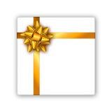 有金黄丝带和弓的节日礼物箱子 名片的模板,横幅,海报,飞行物,笔记本,邀请 免版税库存图片