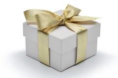 有金黄丝带弓的礼物盒 免版税图库摄影