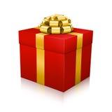 有金黄典雅的被捆绑的丝带的红色美丽的传染媒介礼物盒在白色背景 免版税库存图片