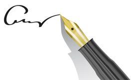 有金黄技巧和署名的钢笔 库存照片