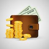 有金黄硬币和绿色美元的皮革钱包 向量例证, eps 10 免版税图库摄影